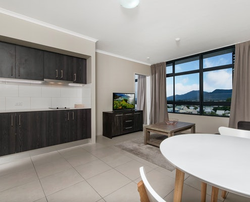 inside view of the sunshine tower hotel room in cairns
